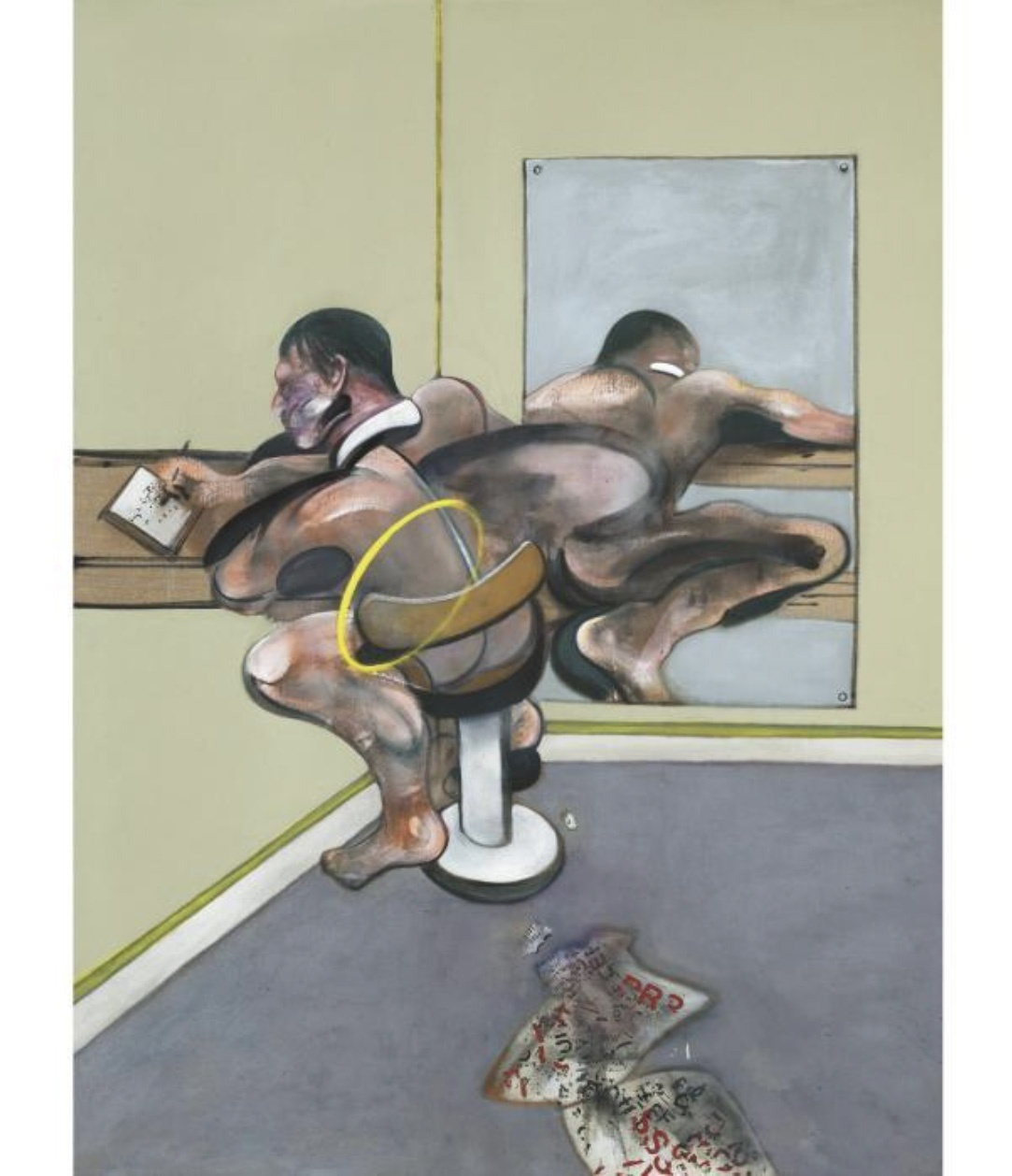Francis Bacon, Figure Writing Reflected in a Mirror